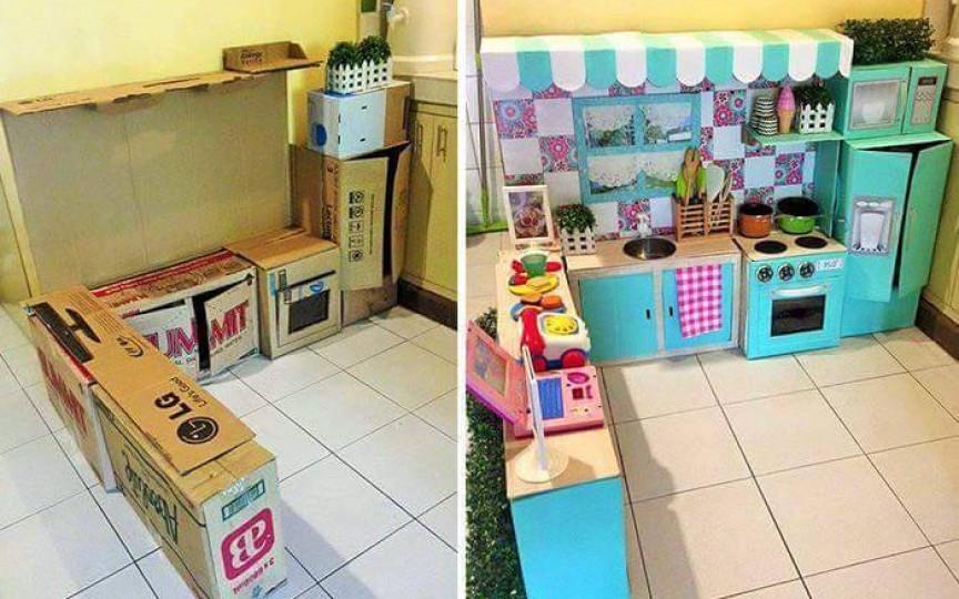 Construim o bucătărie din cutii de carton