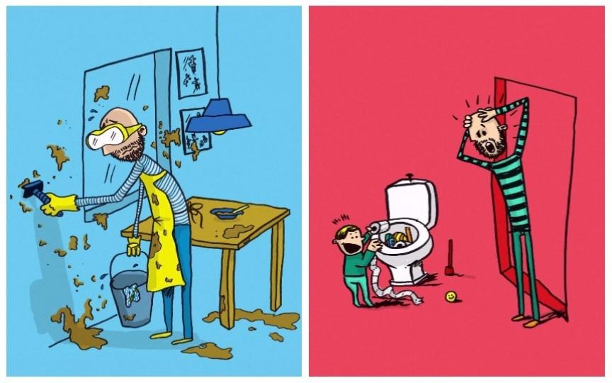Amuzant: Cum arată concediul de îngrijire a copilului în viziunea unui tătic