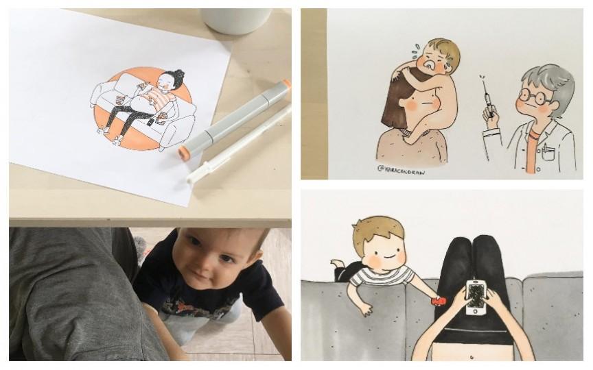 O mămică ilustrează cum e să stai cu un copil acasă