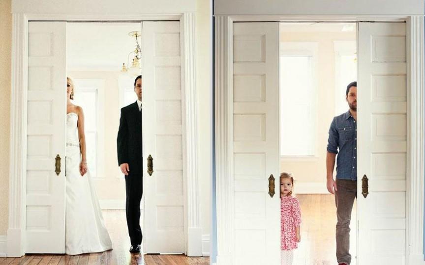 Un bărbat văduv a refăcut fotografiile de nuntă alături de fiica sa