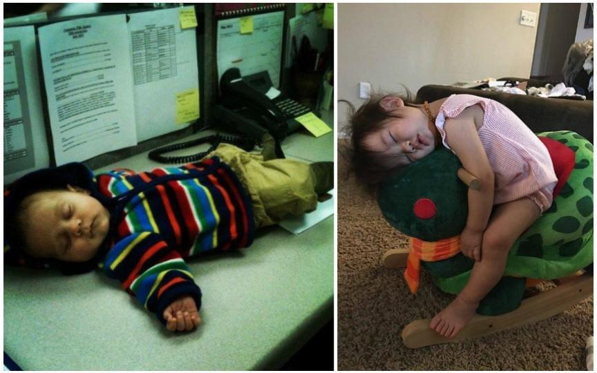 S-a terminat bateria! Fotografii amuzante în care copiii dorm pe unde apucă