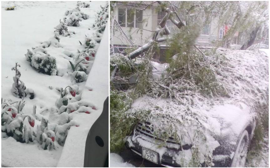 FOTO: Vezi cum arată Chișinăul în urma ninsorilor abundente de astăzi