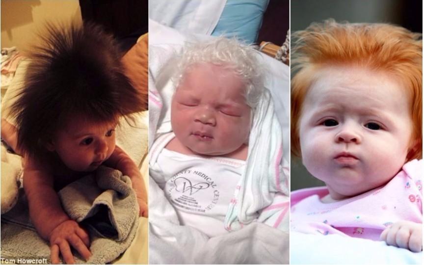 Fotografiile amuzante ale nou-născuților cu părul lung fac înconjurul lumii