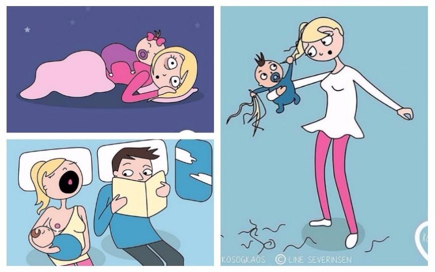 Imagini hazlii: Cum e viața unei femei devenită proaspăt mămică