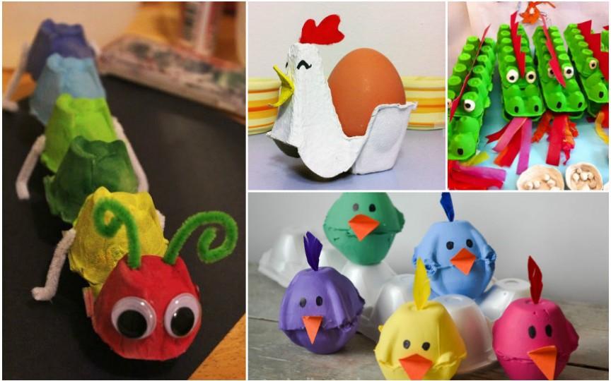Idei ingenioase de aplicații pentru copii făcute din cofraje de ouă