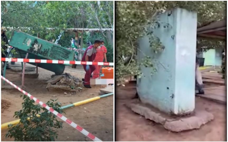 (FOTO) Tragedie la locul de joacă! Un copil de 11 ani a murit după ce a fost zdrobit de o placă de beton