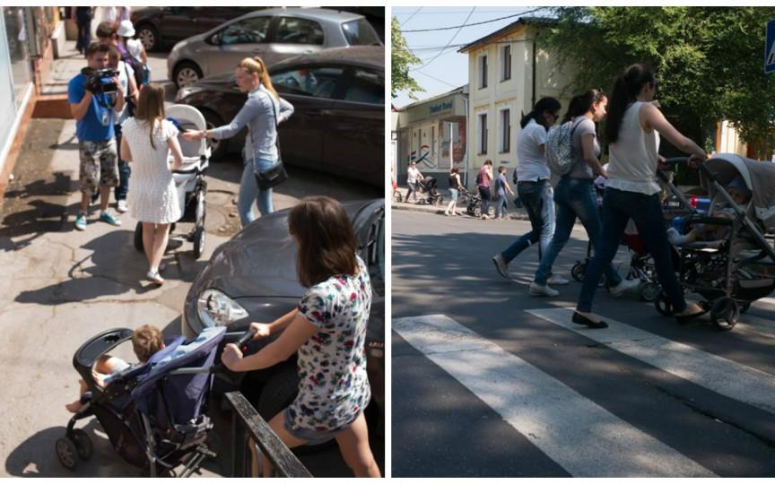 Un grup de mămici cer reabilitarea trotuarelor din Chișinău
