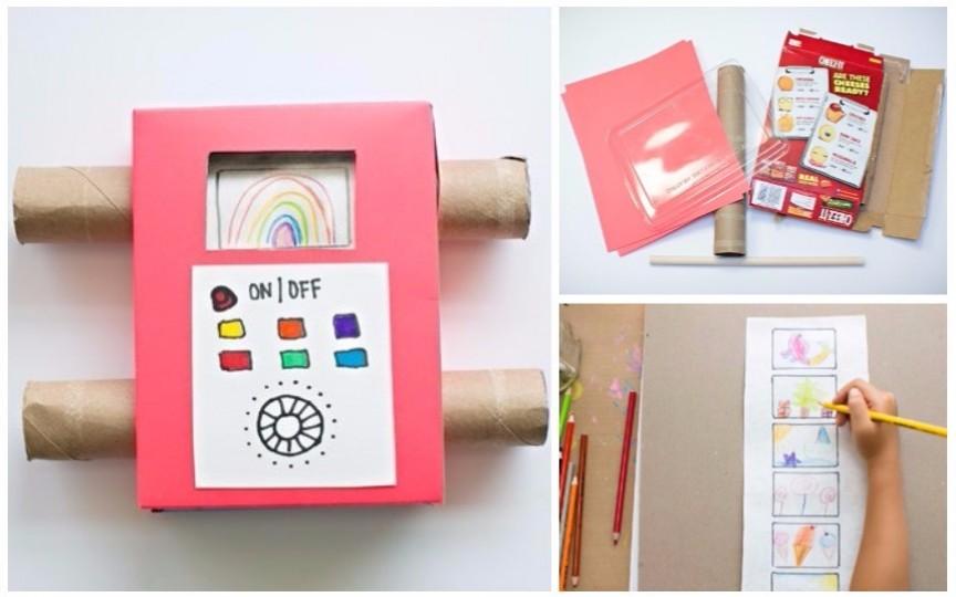 Televizor color din carton care transmite în direct desenele copilului tău