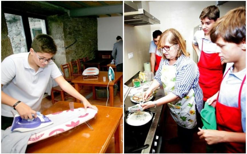 Într-o școală din Spania, băieții sunt învățați să gătească și să calce rufe