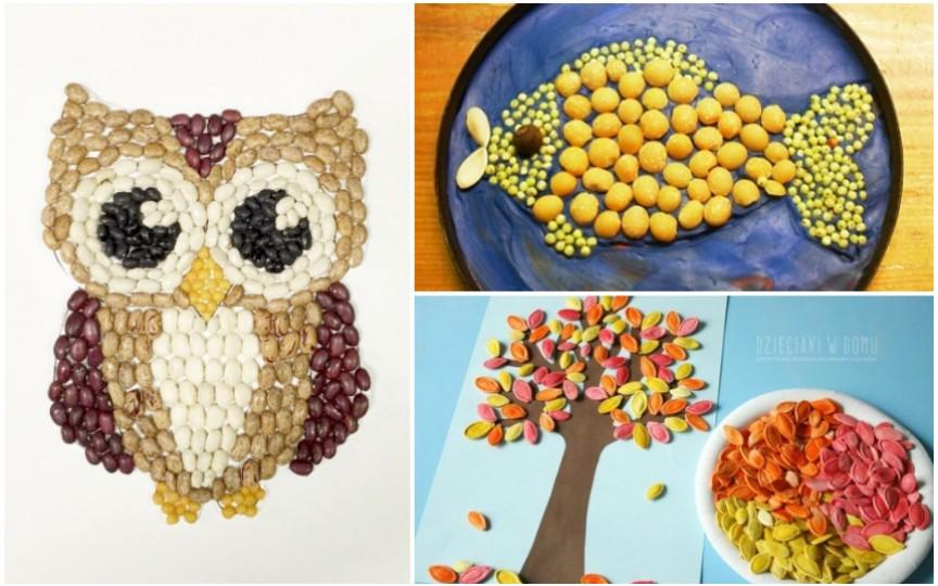 (FOTO) Aplicații din semințe și crupe – activități creative pentru copii