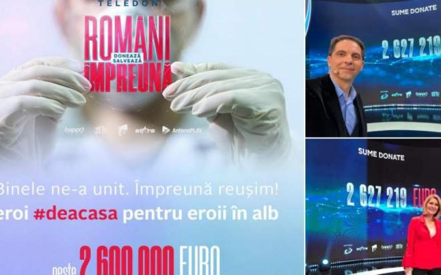 """Peste 2,6 mln de euro s-au strâns la teledonul """"Români Împreună"""" pentru a ajuta sistemul medical. Pe când și la noi?"""