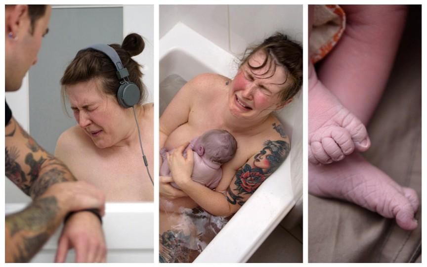 (Imagini superbe) A născut acasă asistată de soț