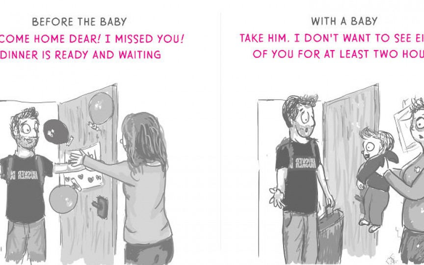 Ilustrații comice despre cum e să fii mamă la început