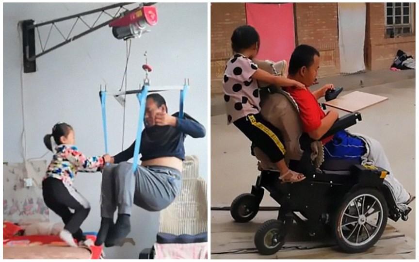 Povestea care îți frânge inima – o fetiță de 6 ani are grijă de tatăl său paralizat după ce mama i-a părăsit