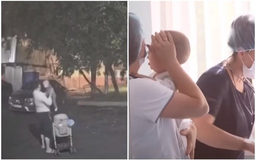 (VIDEO) Un bebeluș de 10 luni a fost abandonat noaptea în stradă