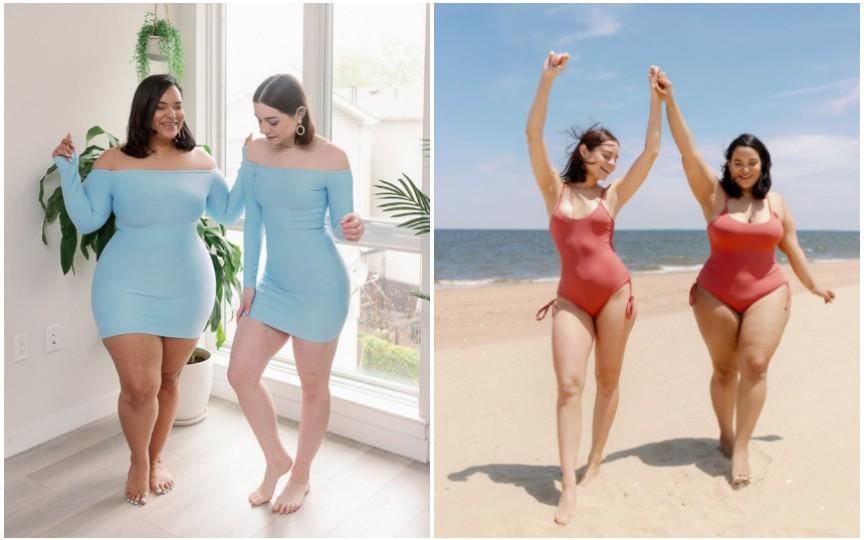 O lecție de viață de la două prietene -  aceeași ținută pe două tipuri de corp diferite
