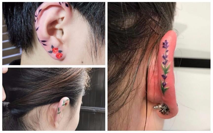 (FOTO) Floare la ureche - un nou trend în arta tatuajelor