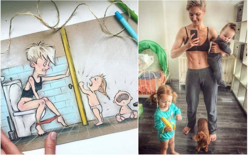 (FOTO) Vezi cum arată viața unei mame cu doi copii! Te vei regăsi și tu în aceste imagini
