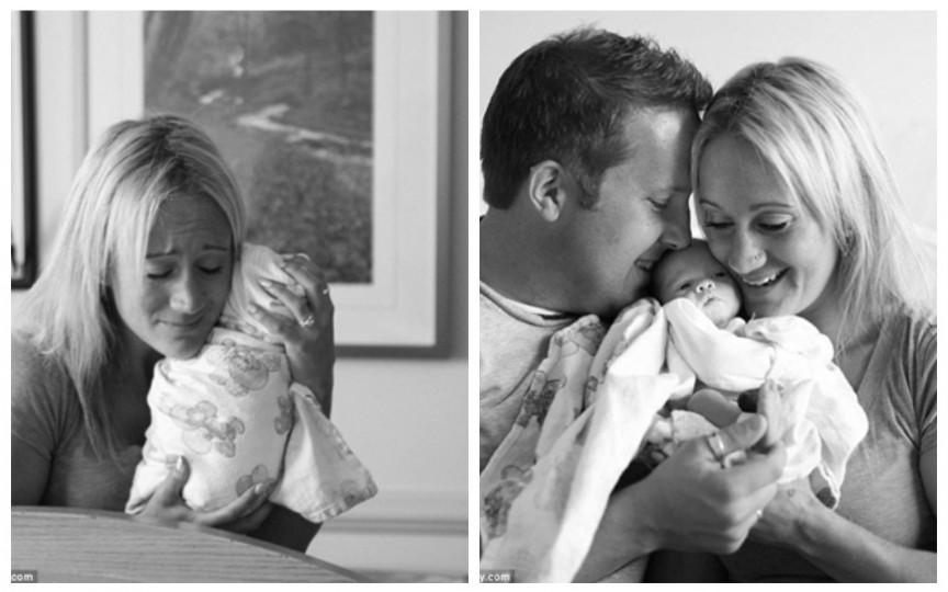Fotografii înduioșătoare cu doi părinți în momentul când își văd prima data fetița adoptată