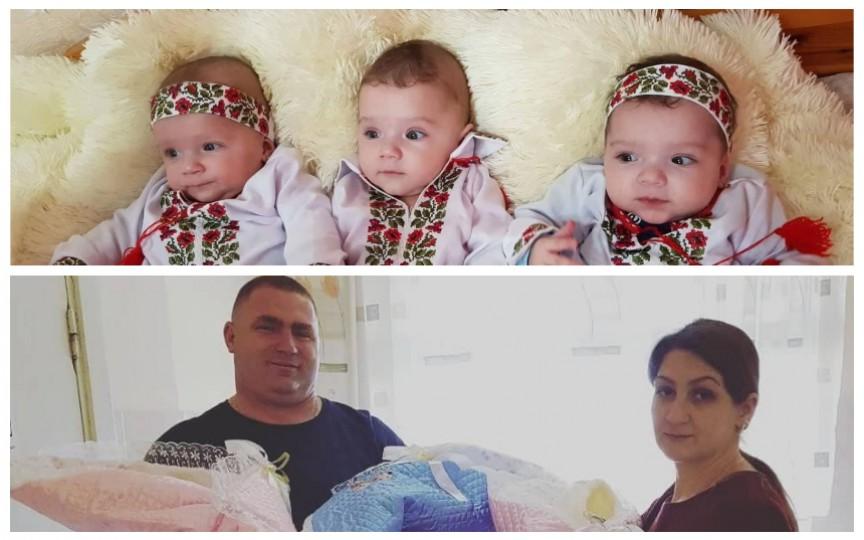 Împreună nu puteau concepe, deși aveau copii din primele căsnicii. Istoria unei familii din Moldova în care recent s-au născut tripleți