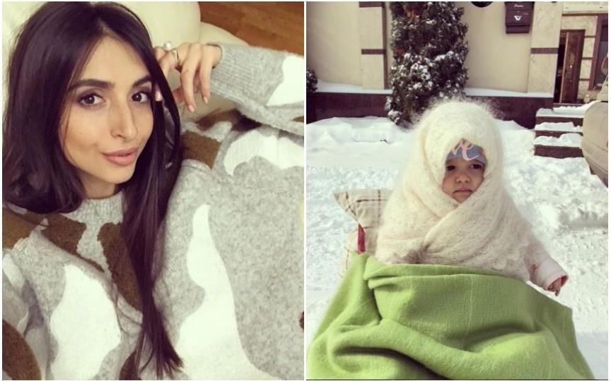 Iarna din martie - prilej de bucurie și pentru fetița Elenei Bivol. Vezi ce dulcică e la săniuș!