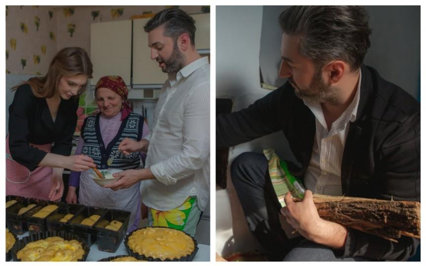 (FOTO) Adrian Ursu și soția sa, Irina Negară, coc pasca tradițional în cuptor cu lemne