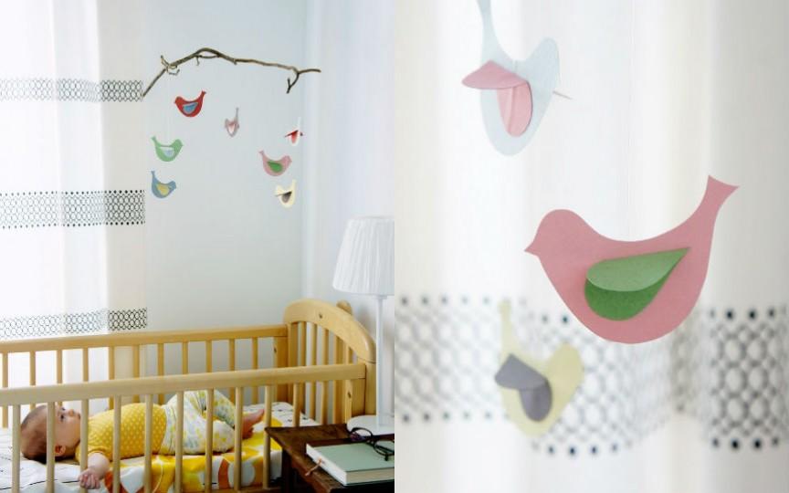 Carusel cu păsărele, făcut cu propriile mâini pentru pătuțul bebelușului
