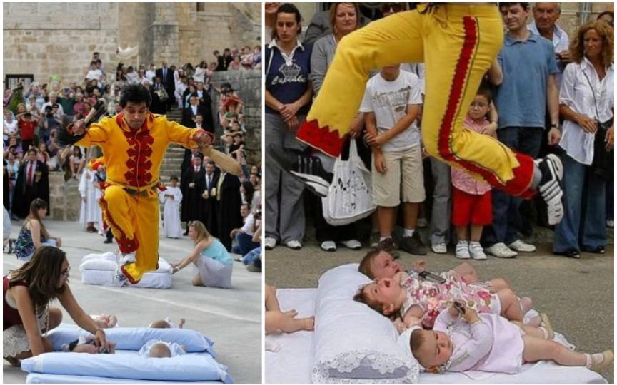 Festivalul la care se organizează sărituri peste copii. Vezi ce semnifică