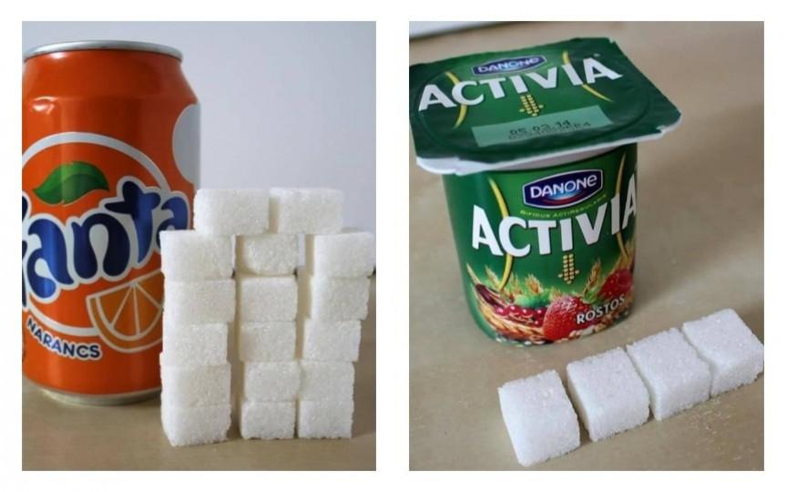 (FOTO) Cât zahăr conțin băuturile și mâncărurile preferate de copii