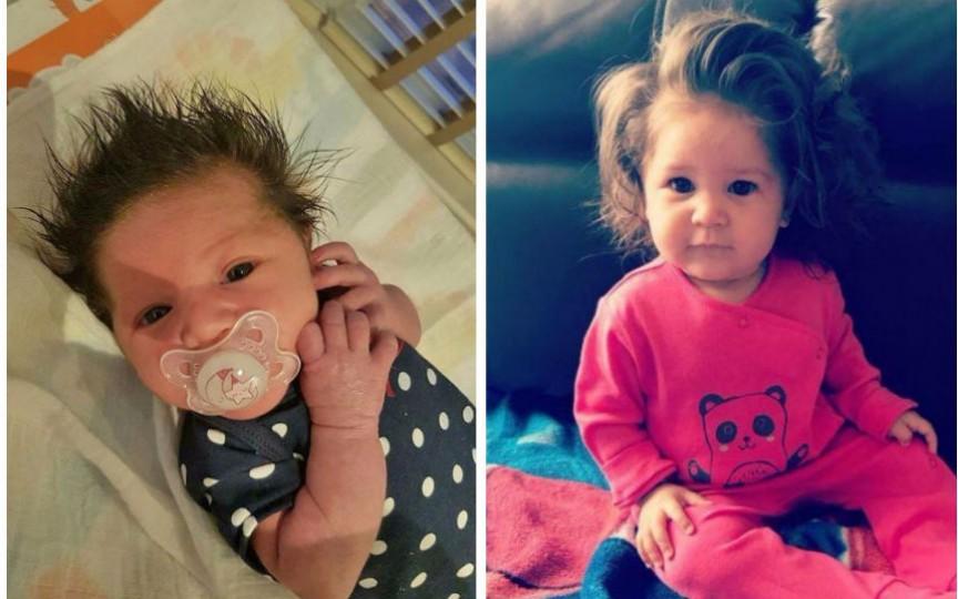 (Foto) O fetiță de doar 9 luni face furori datorită părului mult mai des și mai lung pentru vârsta sa