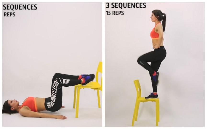5 tipuri de exerciții fizice pe care le faci utilizând un simplu scaun