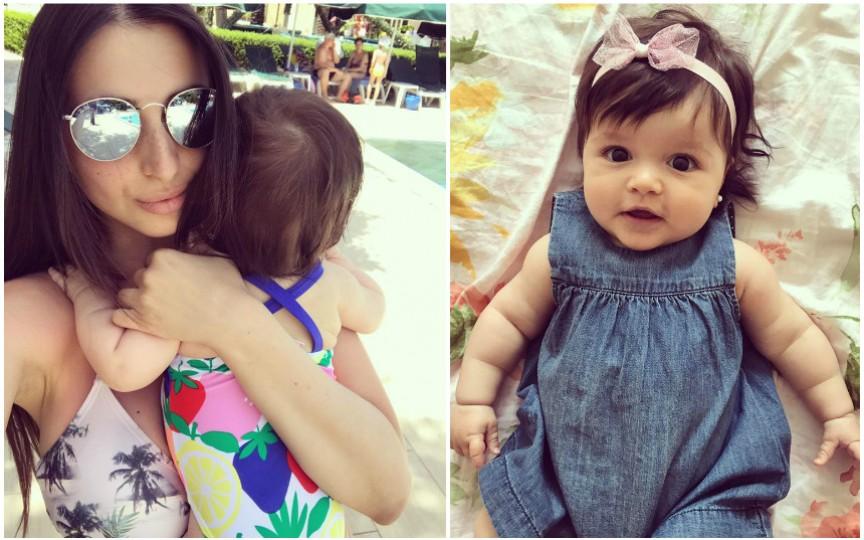 Elena Bivol cu fiica sa de nici șase luni au ieșit la bronzat