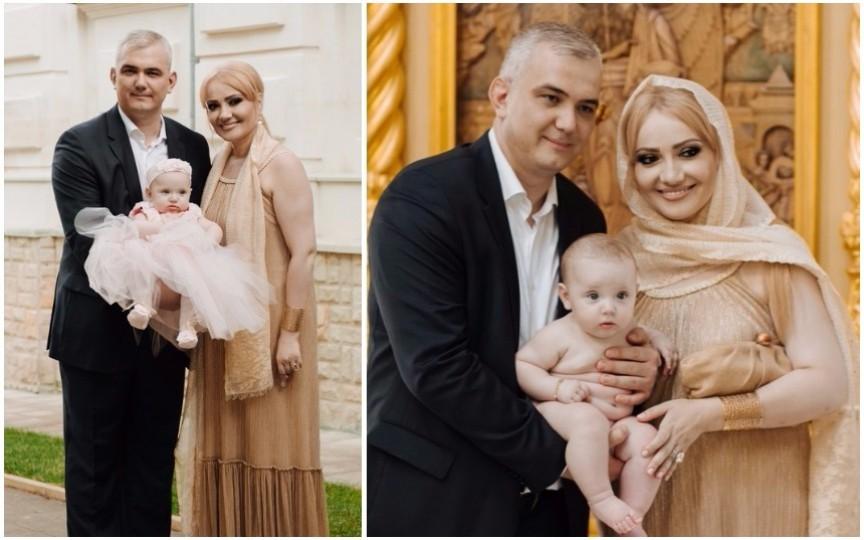 Primele imagini cu fiica Adrianei Ochișanu! Micuța a fost botezată
