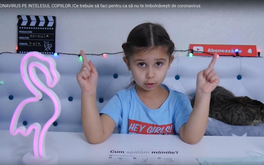 (VIDEO) Face vlogging la doar 5 ani, iar acum explică pe înțelesul copiilor cum să ne protejăm de coronavirus