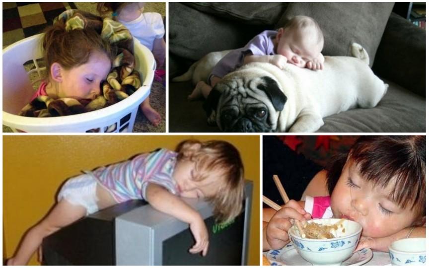 Cele mai haioase poziții în care adorm copiii