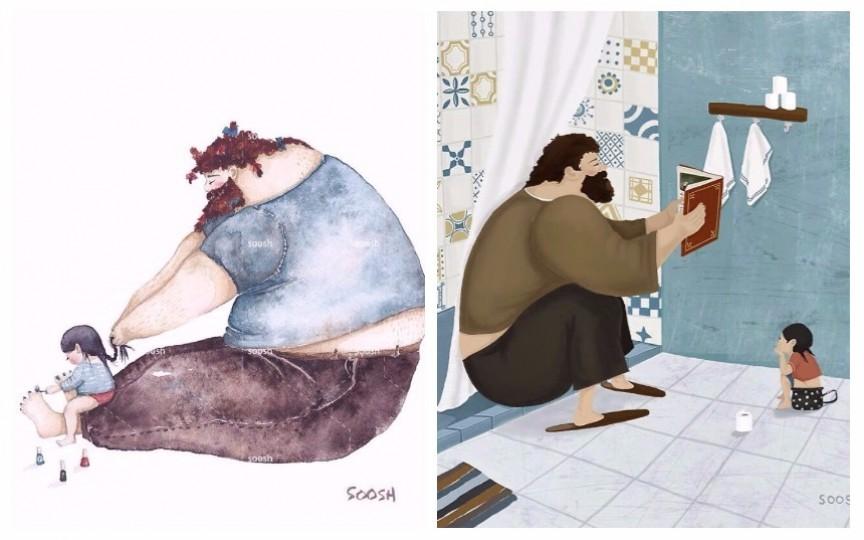 Dragostea de tată pentru fetița sa, în ilustrații amuzante