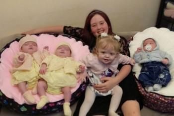 Un caz neobișnuit: A născut patru copii într-un an și micuții nu s-au născut în același timp